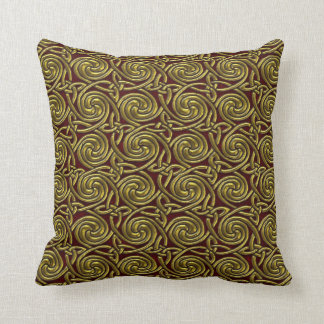 Gold And Red Celtic Spiral Knots Pattern Pillow