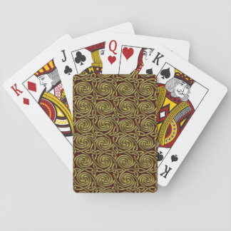 Gold And Red Celtic Spiral Knots Pattern Playing Cards