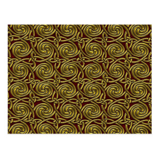 Gold And Red Celtic Spiral Knots Pattern Postcard