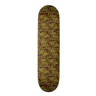 Gold And Red Celtic Spiral Knots Pattern Skate Boards