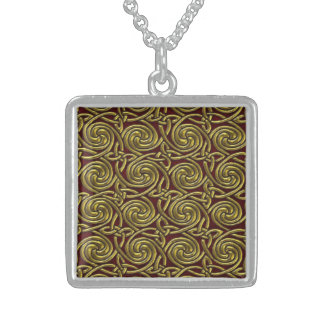 Gold And Red Celtic Spiral Knots Pattern Square Pendant Necklace