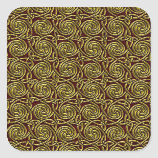 Gold And Red Celtic Spiral Knots Pattern Sticker
