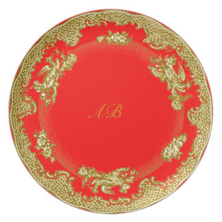 gold and red china look good luck new year plate