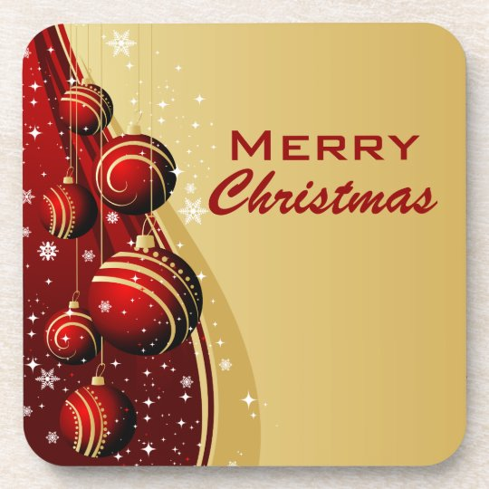 Gold and Red Christmas Balls Beverage Coaster