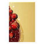 Gold and Red Christmas Balls Stationery