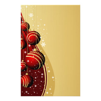 Gold and Red Christmas Balls Personalized Stationery