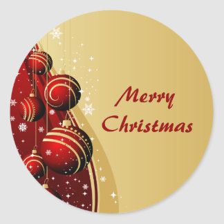 Gold and Red Christmas Balls Round Stickers