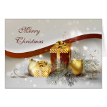 Gold and Red Christmas Gifts and Decorations Card