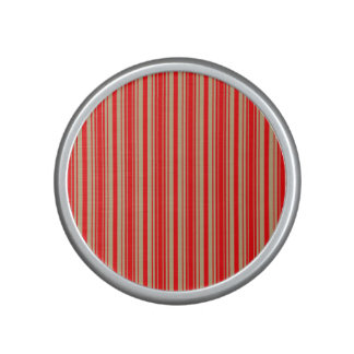 Gold and Red Christmas Stripes Bluetooth Speaker