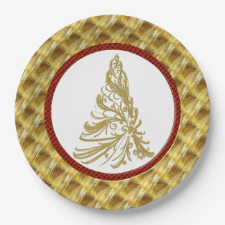 Gold and Red Christmas Tree 9 Inch Paper Plate