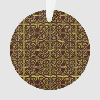 Gold And Red Connected Ovals Celtic Pattern