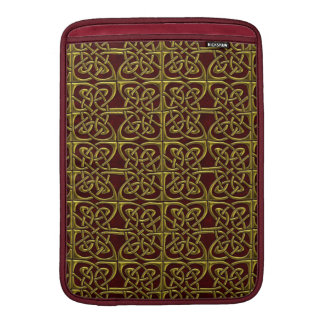 Gold And Red Connected Ovals Celtic Pattern MacBook Air Sleeves