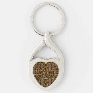 Gold And Red Connected Ovals Celtic Pattern Keychain