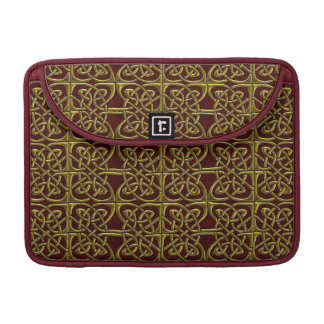 Gold And Red Connected Ovals Celtic Pattern Sleeve For MacBooks