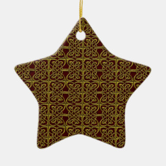 Gold And Red Connected Ovals Celtic Pattern Ornaments