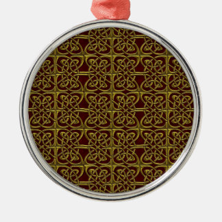 Gold And Red Connected Ovals Celtic Pattern Christmas Ornament