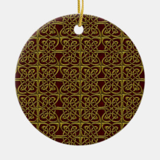 Gold And Red Connected Ovals Celtic Pattern Christmas Tree Ornament