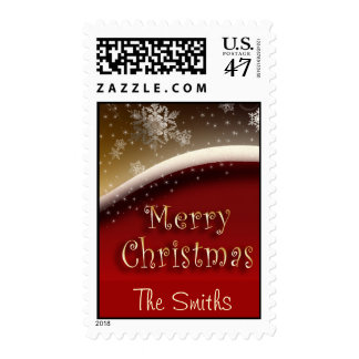 Gold and red custom Christmas Postage