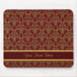 Gold and Red Damask Mouse Pad