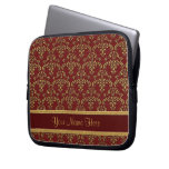 Gold and Red Damask Pattern Computer Sleeve