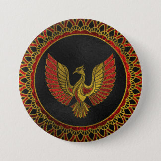 Gold and red Decorated Phoenix bird symbol Pinback Button