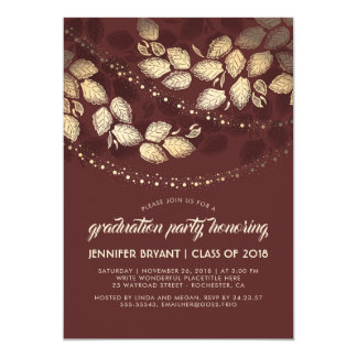 Gold and Red Elegant Tree Lights Graduation Party Card