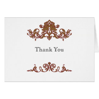 Gold and Red Filigree Vintage Scroll Thank You Card