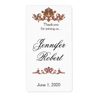 Gold and Red Filigree Vintage Wedding Wine Label Shipping Label