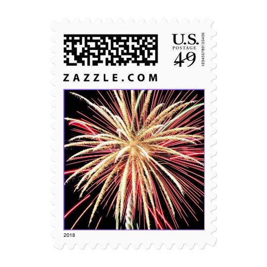 Gold and Red Fireworks Celebration Postage Stamp