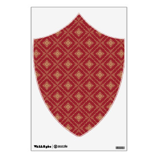 Gold and Red Fractal Pattern Crest Room Graphics