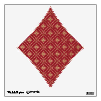 Gold and Red Fractal Pattern Diamond Wall Skin