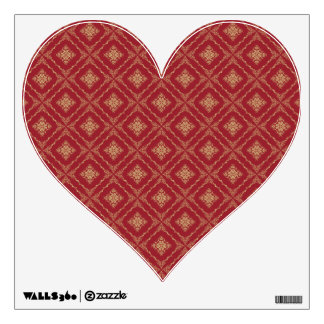 Gold and Red Fractal Pattern Heart Room Sticker
