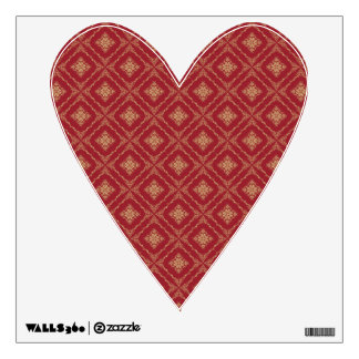 Gold and Red Fractal Pattern Heart Wall Stickers