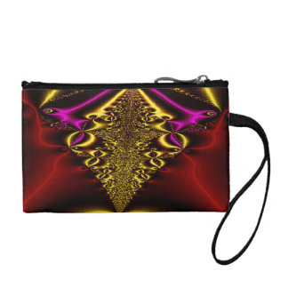 Gold and red fractal wristlet
