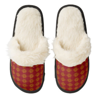 Gold And Red Pair Of Fuzzy Slippers