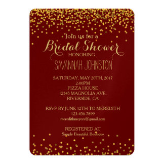 Gold and Red Glam Confetti Dots bridal shower Card