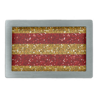 Gold and Red Glitter Stripes Printed Rectangular Belt Buckles