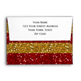 Gold and Red Glitter Stripes Printed Envelope