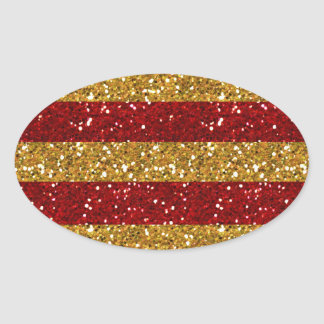 Gold and Red Glitter Stripes Printed Oval Sticker