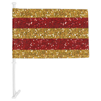 Gold and Red Glitter Stripes Printed Car Flag