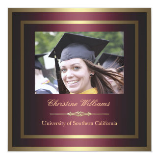 Gold and Red Graduation Invitation