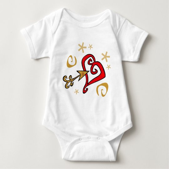 Gold and red Heart Baby Bodysuit