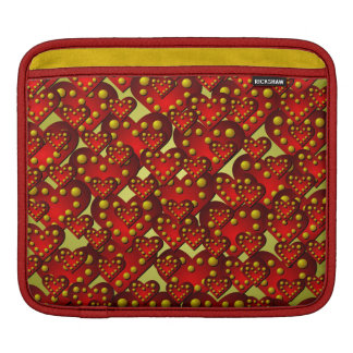 Gold and Red Hearts Pattern iPad Sleeve