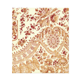 Gold And Red Lace Roses Canvas Print