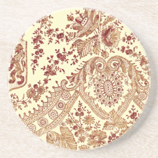 Gold And Red Lace Roses Coaster