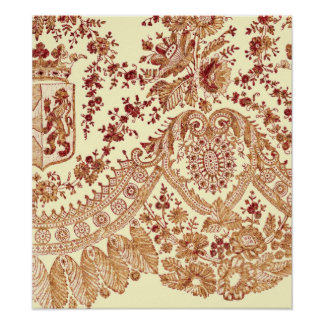 Gold And Red Lace Roses Poster