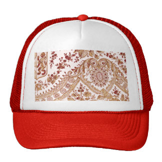 Gold And Red Lace Roses Trucker Hat