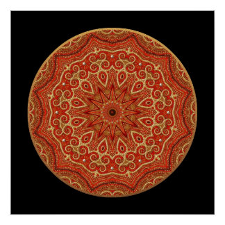 Gold and Red Mandala Poster