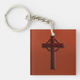 Gold and Red Marble Celtic Cross Double-Sided Square Acrylic Keychain