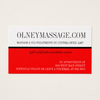 Gold and red massage and spa contact card